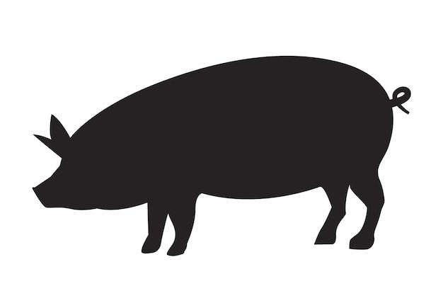 ベクトル豚シルエットサイドレトロヴィンテージテンプレート。豚動物のアイコンの背景。養豚場。