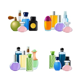 Vector piles of perfume bottles set illustration