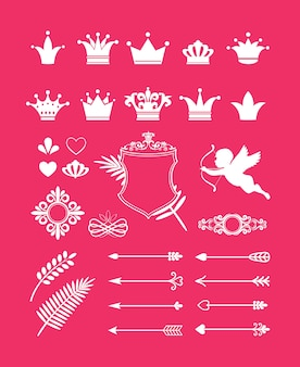 Vector pink decor with crowns, hearts and arrows design elements for princess and glamour