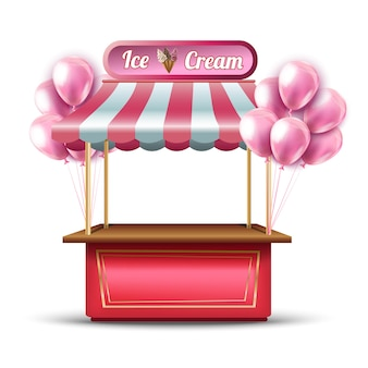 Vector pink ice cream opening shop booth icon with balloons.