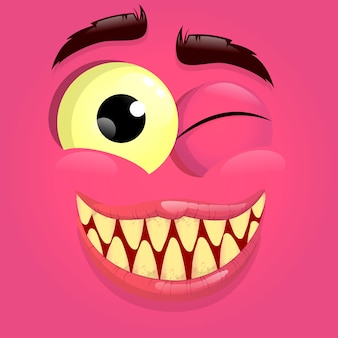 Vector pink monster avatar with happy face