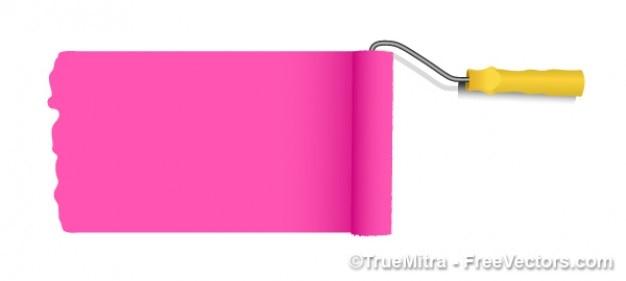 Vector pink paint roller