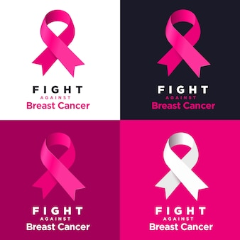 Vector pink ribbon on various backgrounds.