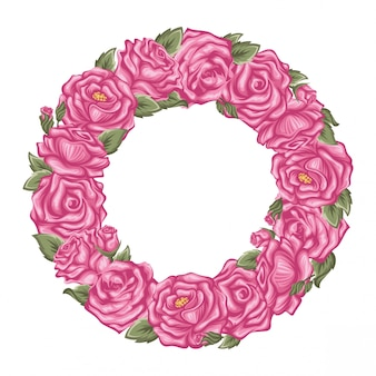 Vector pink roses frame in the shape of circle isolated