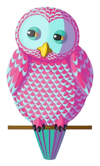 Vector pink-turquoise owl sitting on branch.