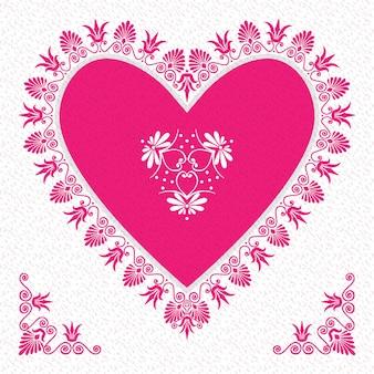 Векторная розовая валентинка с цветочными сердечками