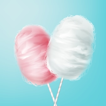 Vector pink, white cotton candy on stick isolated on blue background