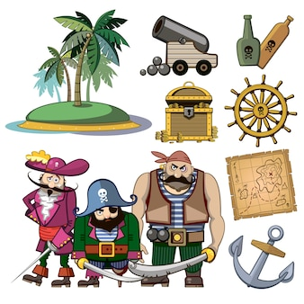 Vector pirate characters set in cartoon style. costume and palm, hook and island, wealth treasure, map and rum, cannon and adventure illustration
