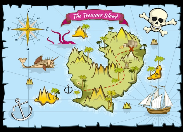 Vector pirate treasure color map
