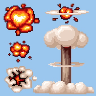 Vector pixel art nuclear explosion isolated