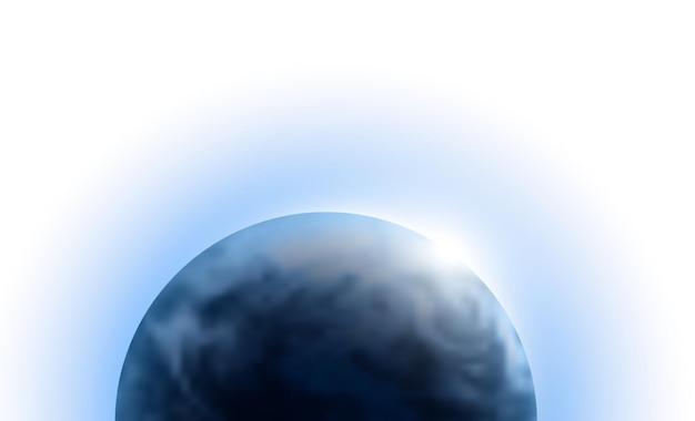 흰색 배경에 고립 된 공간에서 일출과 벡터 행성 지구. 블루 글로브 그림입니다. 과학 천문학 디자인 요소입니다.