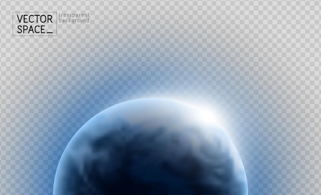 Vector planet earth with sunrise in space isolated on transparent background. blue globe illustration. sciense astronomy design element.