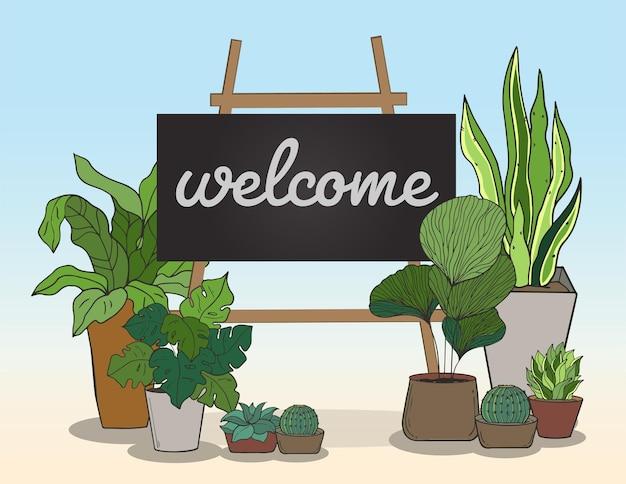 メッセージを書くためのブラックボードとポットのベクトル植物