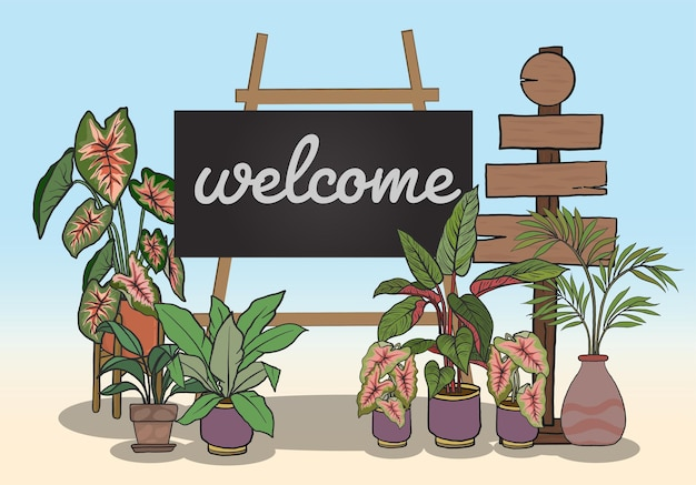 メッセージを書くためのブラックボードとベクトル植物