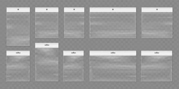 ハンガー付きのベクトルビニール袋ジップロックまたは孤立したモックアップのロックセット付きの透明なパック