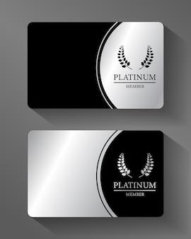 Vector  platinum member card platinum and black