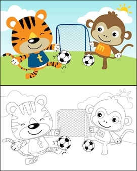 Vector of playing soccer with funny animals cartoon