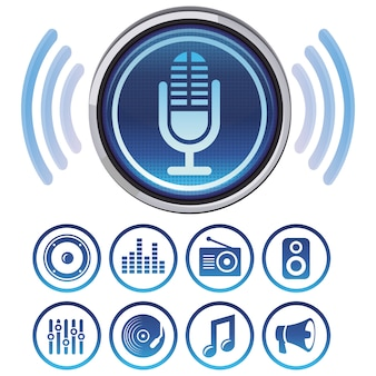 Vector podcast icons and symbols for audio apps