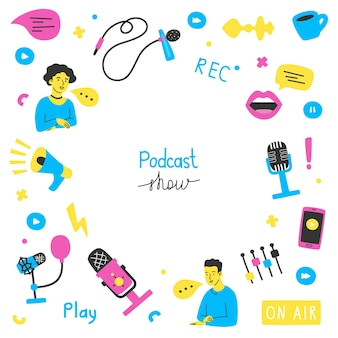 Vector podcasts banner with copy space  bright vector illustration in a flat style