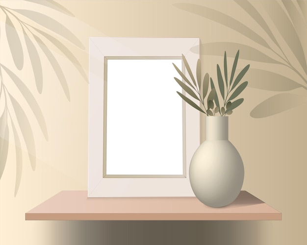 Vector podium platform shelf with vase and picture