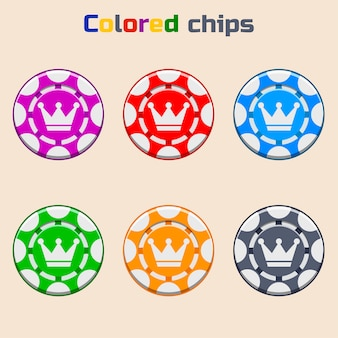 Vector poker chips in colors