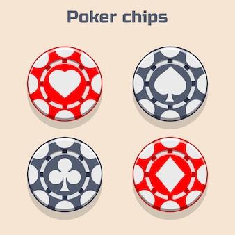 Vector poker chips, suit