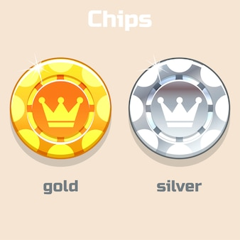 Vector poker gold and silver chips