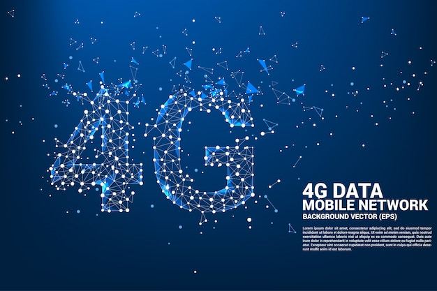 Vector polygon dot connect line shaped 4g mobile network.