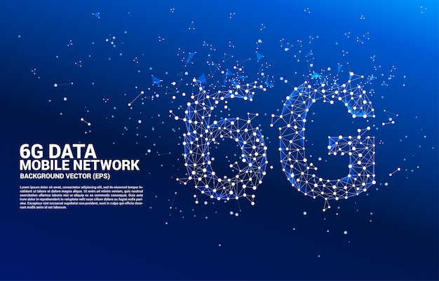 Vector polygon dot connect line shaped 6g mobile network. concept for mobile phone data technology.