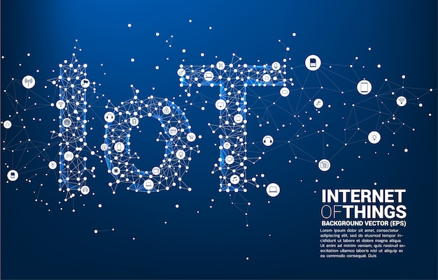Vector polygon dot connect line shaped iot wording . concept for telecommunication and internet of things.