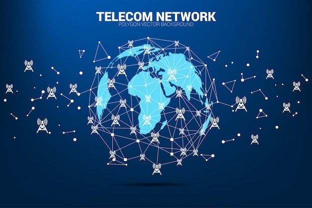 Vector polygon dot connect line with antenna tower icon around world map globe.