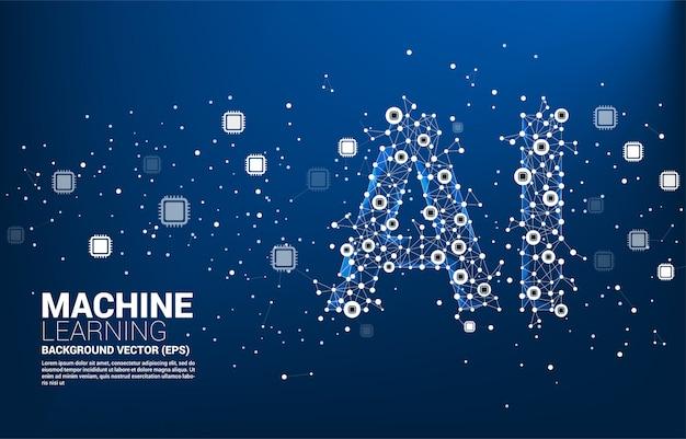Cpu 연결 선 모양의 ai 벡터 다각형 점. 기계 학습 및 인공 지능 cpu에 대한 개념.