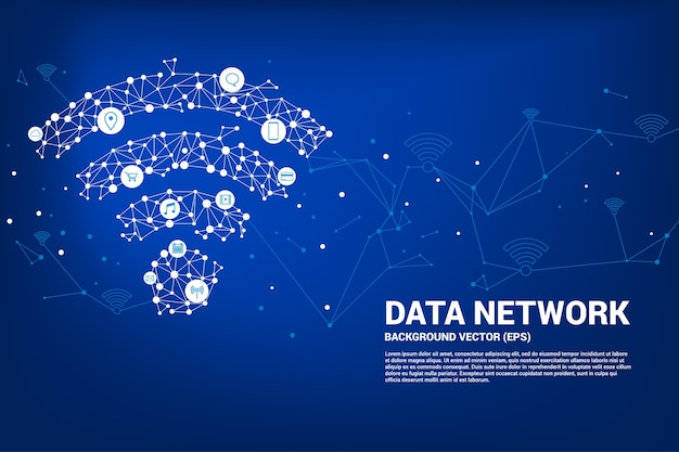Vector polygon mobile data icon. concept for data transfer of  mobile and wi-fi data netwo