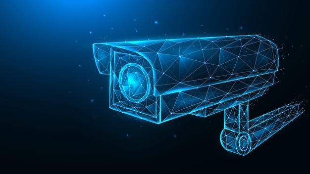 Cctv 카메라, 보안 카메라, 비디오 감시 시스템의 벡터 다각형 그림.