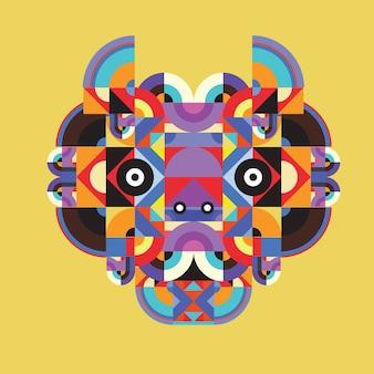 Vector pop art flat polygonal illustration head of horse