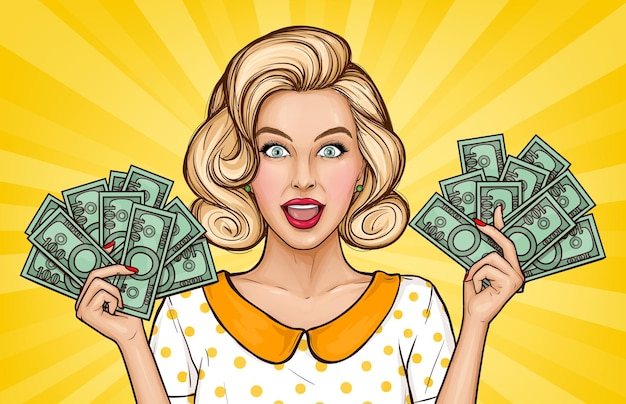 Vector pop art illustration of enthusiastic girl with cash. blonde young woman holds money bills in hands. advertising poster for the announcement of discounts and sales in the style of popart.