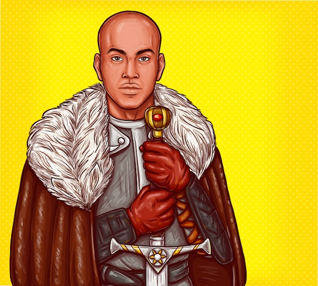 Vector pop art illustration of a medieval knight in steel armor with an iron sword