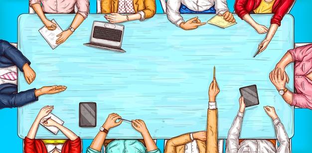 Векторные поп-арт иллюстрации мужчины и женщины, сидя за столом переговоров таблицы вид сверху