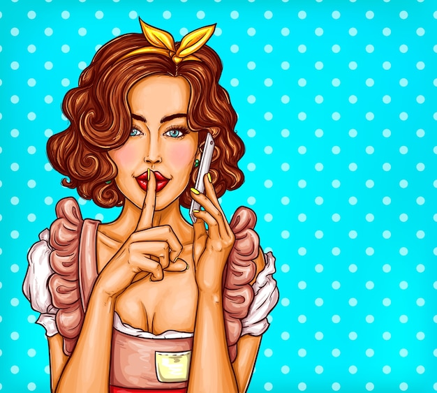 Vector pop art illustration of a young sexy girl talking on a mobile phone