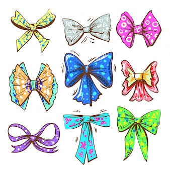 Vector pop art vintage bow or ribbon set