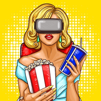 Vector pop art woman watching movie with virtual reality glasses.