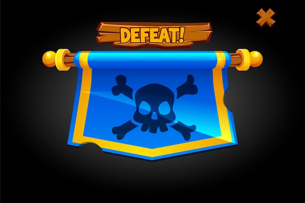 Vector pop up defeat flag for game. hanging banner with a skull and the inscription lose.