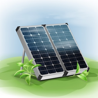 Vector portable isolated solar panels close up with green leafs on background