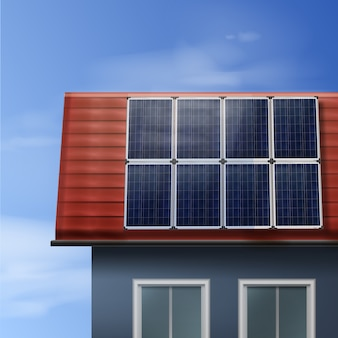 Vector portable solar panels isolated on tiled roof house with cloudy sky