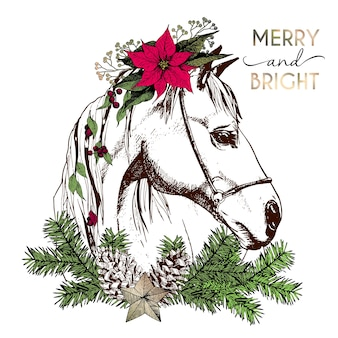 Vector portrait of boho christmas horse. decorated with winter floral wreath and fir branch, pinecone and star.