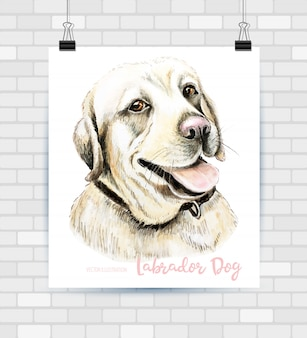 Vector portrait of hand drawn dog breed labrador retriever.
