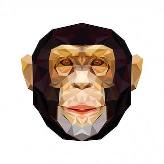 Vector portrait of monkey polygonal. triangle illustration monkey for use as a print on t-shirt and poster