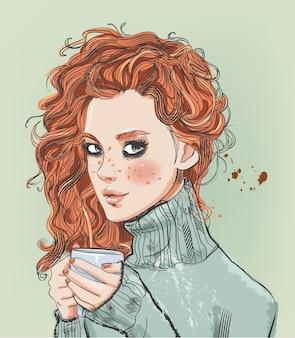 커피 컵과 함께 아름 다운 젊은 여자의 벡터 초상화