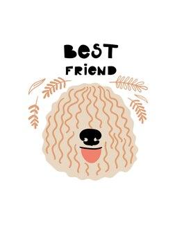 Векторный портрет комондора карикатура иллюстрации с собакой и текстом лучший друг