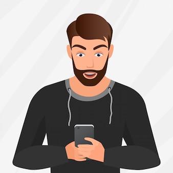 Векторный портрет удивленного красивого молодого человека с мобильным телефоном.